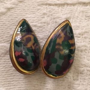 Teardrop enamel wood/celluloid clip earrings